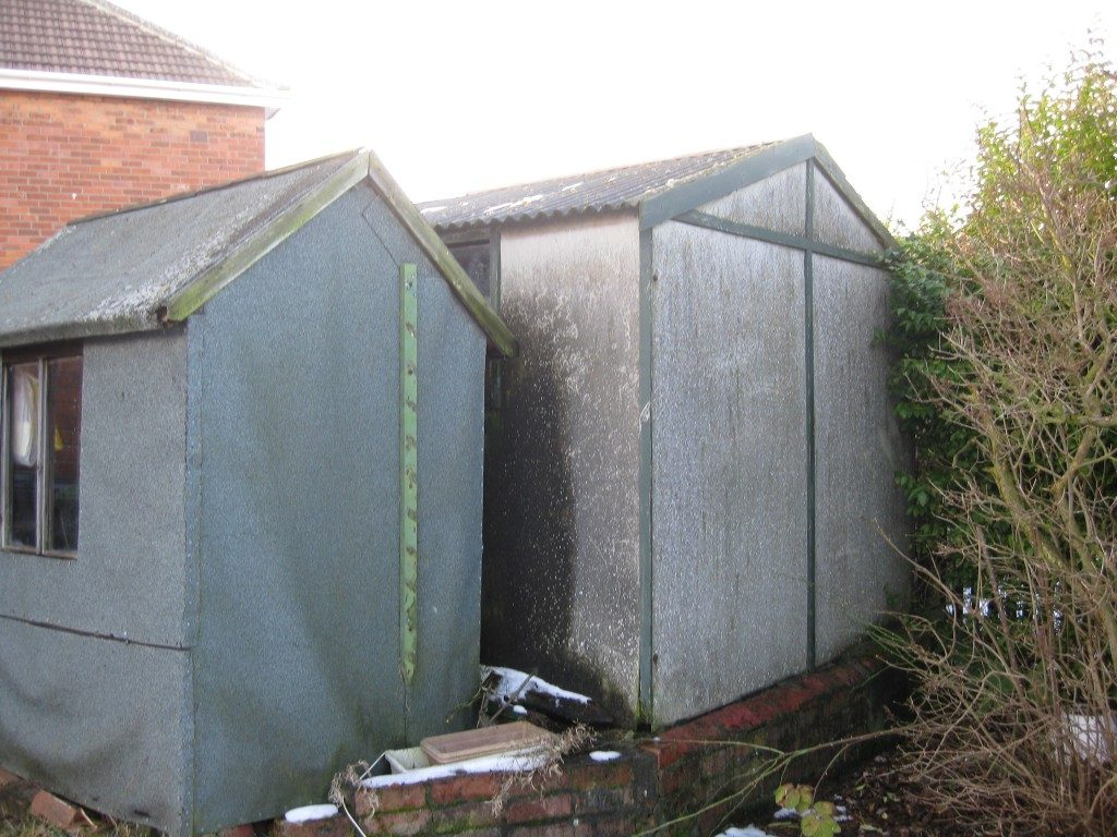 Sheds and garages were often made from asbestos materials